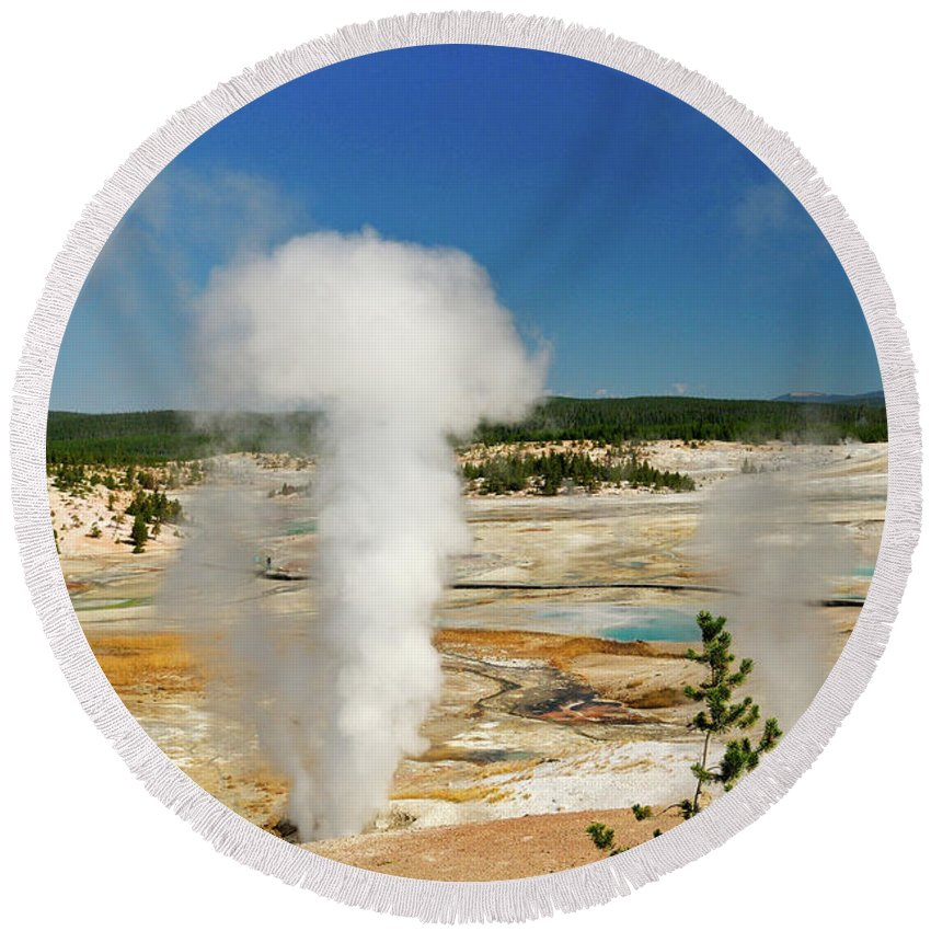 Norris Geyser Basin Round Beach Towel featuring the photograph Norris Geyser by Greg Norrell