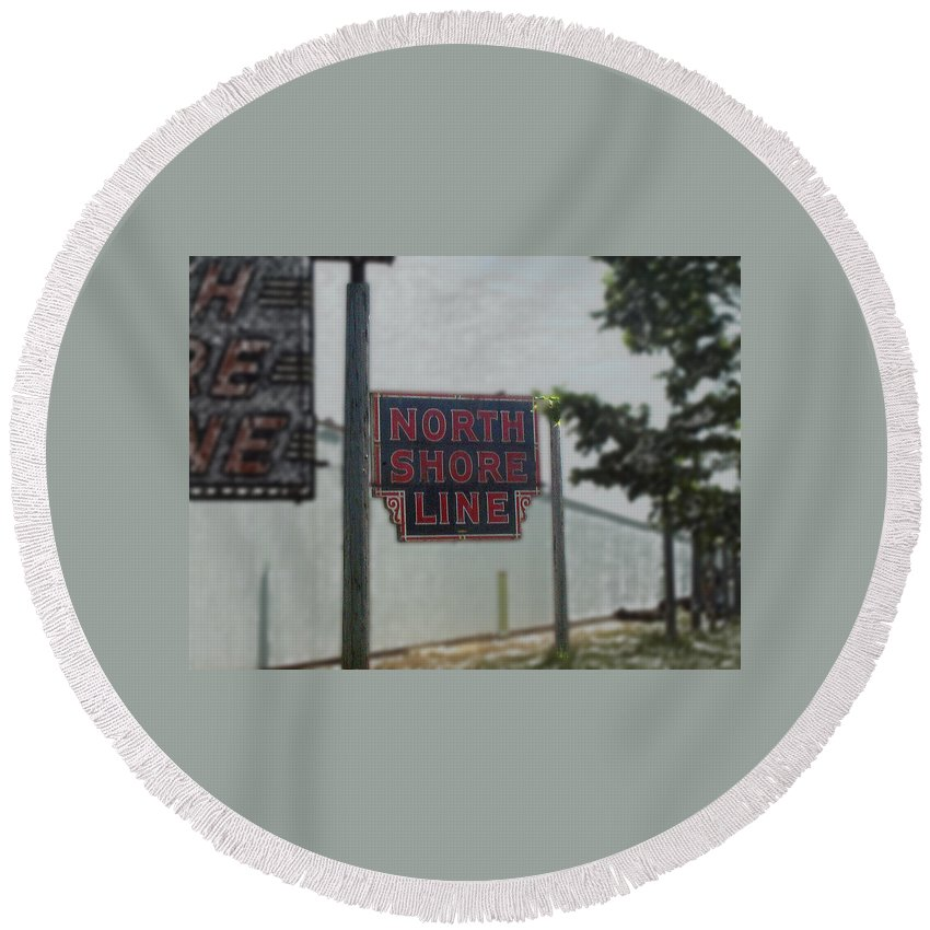 Train Round Beach Towel featuring the photograph North Shore Line Signage Digital Art by Thomas Woolworth