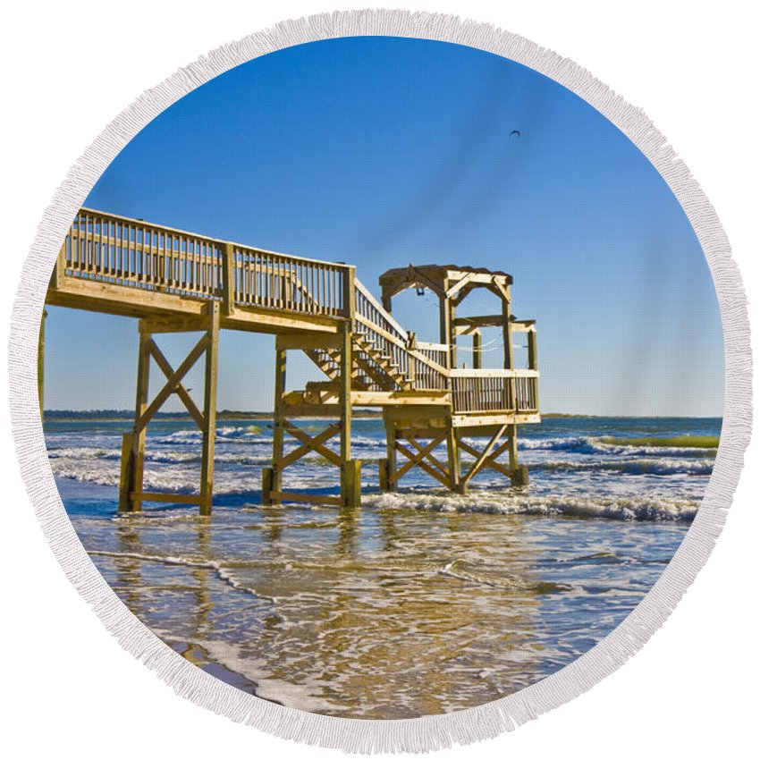 Topsail Round Beach Towel featuring the photograph North Topsail Island by Betsy Knapp