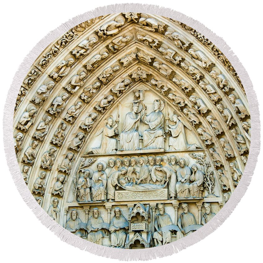 France Round Beach Towel featuring the photograph Notre Dame Cathedral Center Entry by Jon Berghoff