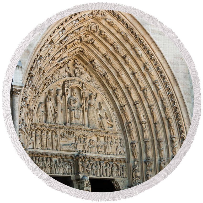 France Round Beach Towel featuring the photograph Notre Dame Cathedral Right Entry Door by Jon Berghoff