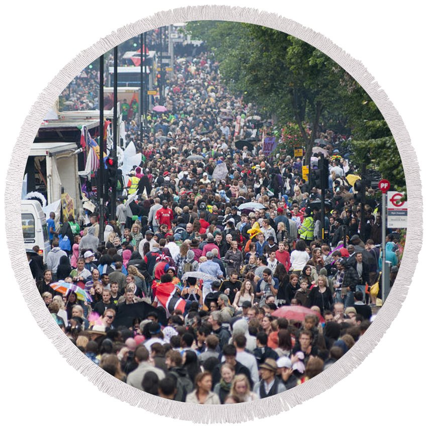 2010 Round Beach Towel featuring the photograph Notting Hill Carnival by Andrew Michael
