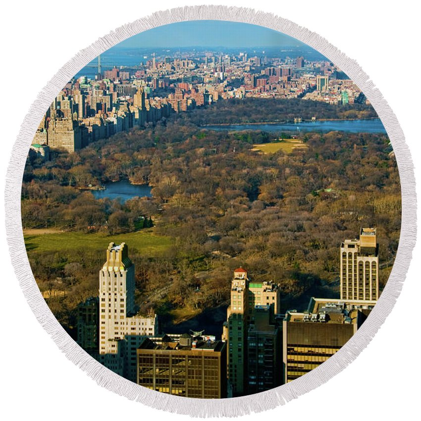 Central Park Round Beach Towel featuring the photograph Nyc's Uber Park by S Paul Sahm