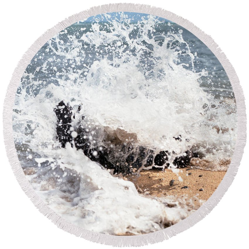 Driftwood Round Beach Towel featuring the photograph Oahu North Shore Splash by John Bowers