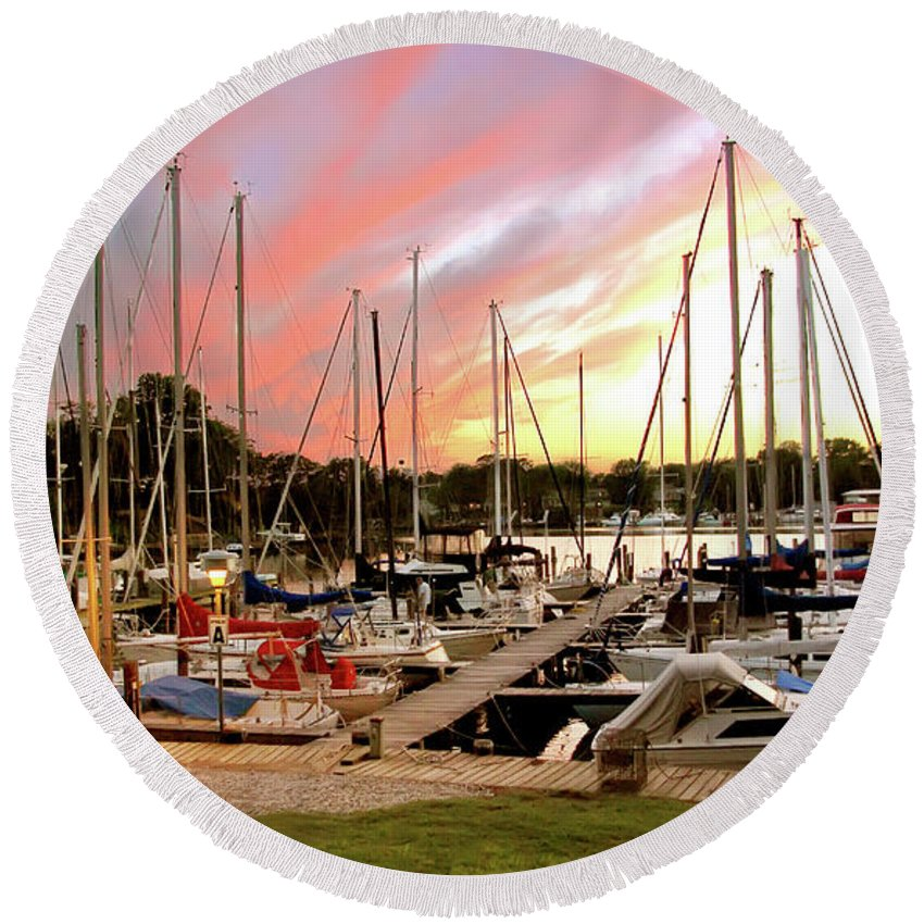 2d Round Beach Towel featuring the photograph Oak Pt Harbor At Sunset by Brian Wallace