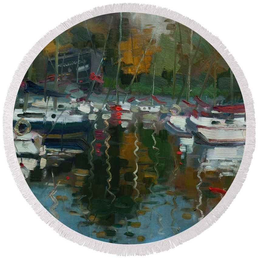 Oakville Round Beach Towel featuring the painting Oakville Harbour On by Ylli Haruni