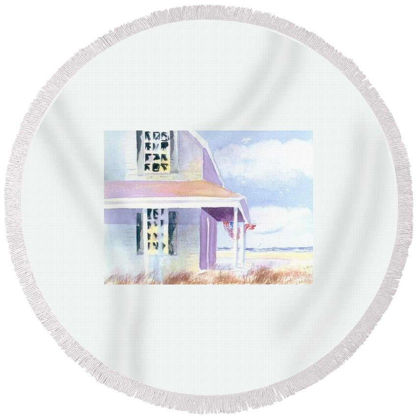 Seascape Round Beach Towel featuring the painting Ocean View by Joseph Gallant
