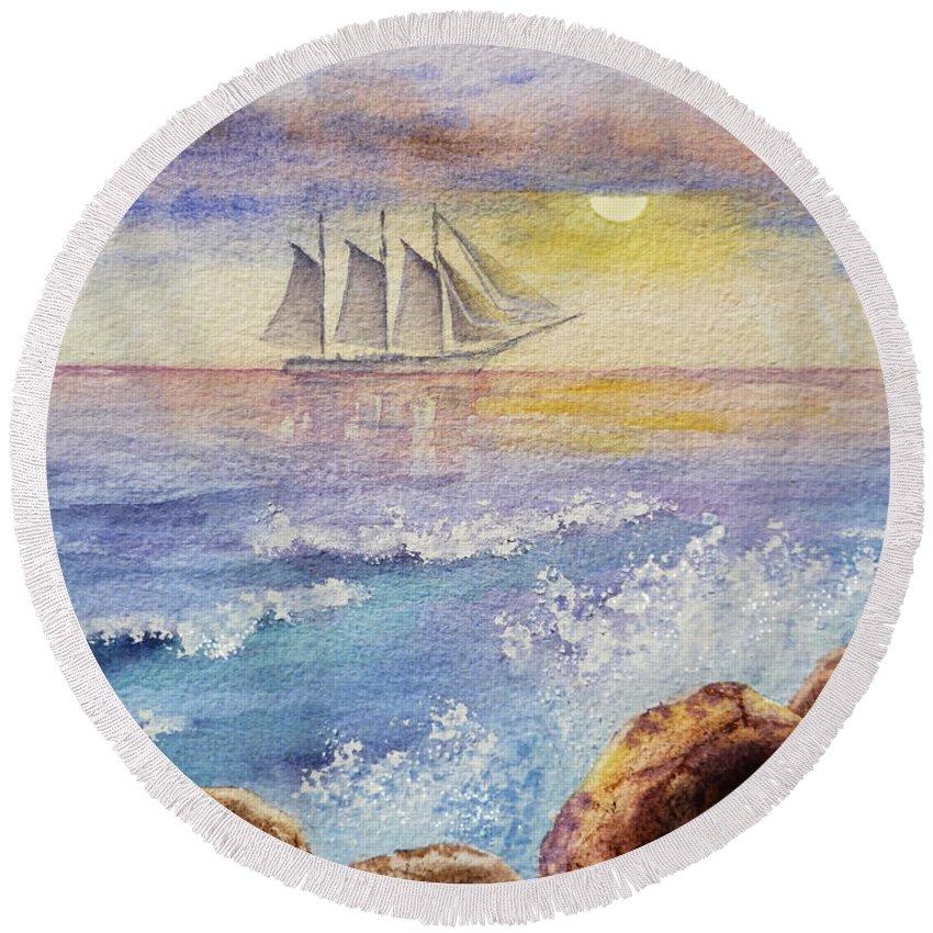 Ocean Round Beach Towel featuring the painting Ocean Waves And Sailing Ship by Irina Sztukowski