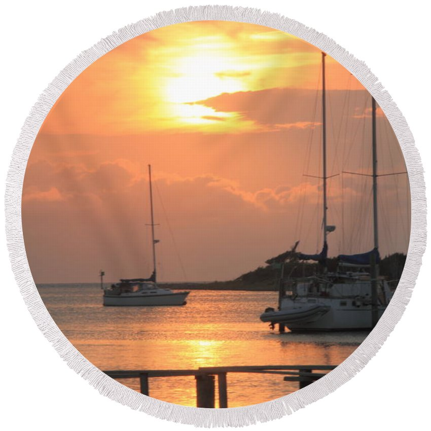 Sunset Round Beach Towel featuring the photograph Ocracoke Island Harbor Sunset by Roupen Baker