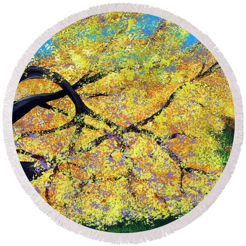 Indiana Round Beach Towel featuring the painting October Fall Foliage by Alys Caviness-Gober