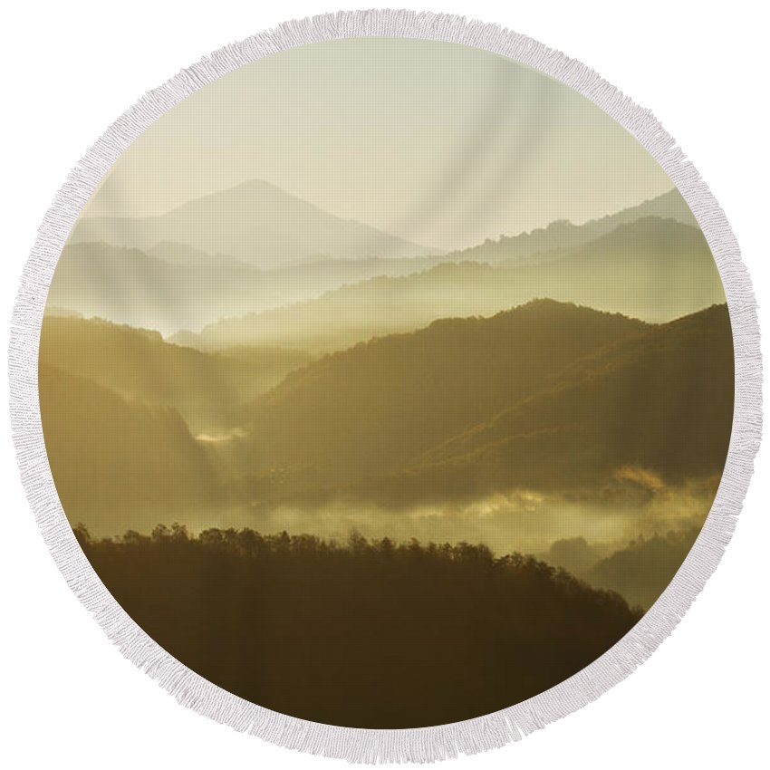 Transylvania Round Beach Towel featuring the photograph October Morning by Mircea Costina Photography