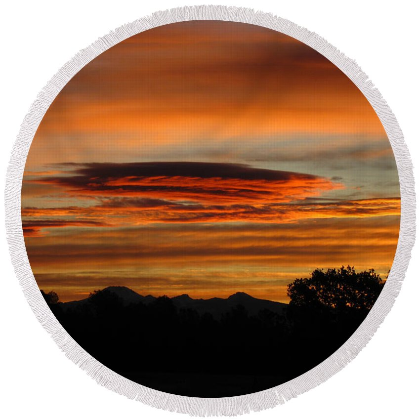 Sun Round Beach Towel featuring the photograph October's Colorful Sunrise 2 by Joyce Dickens