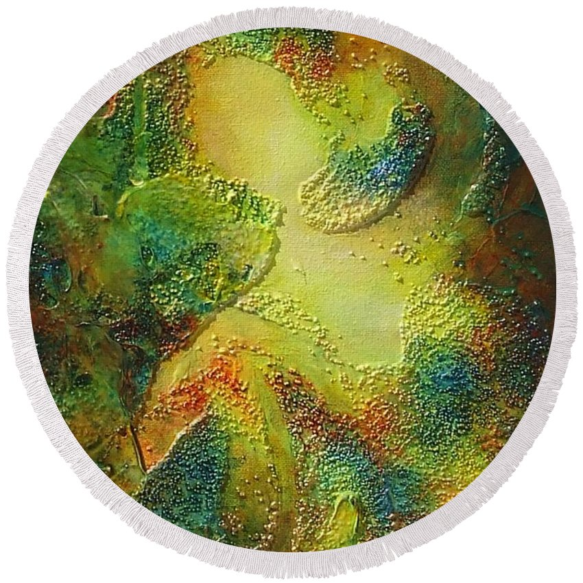 Abstract Round Beach Towel featuring the painting Octopus by Claire Gagnon