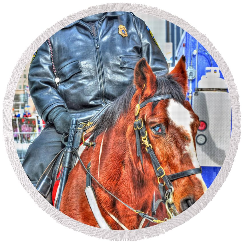 Round Beach Towel featuring the photograph Officer On Brown Horse by Michael Frank Jr