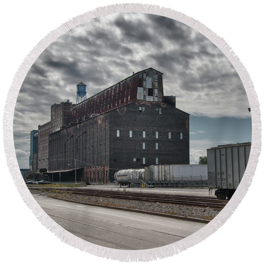 Buffalo Round Beach Towel featuring the photograph Ohio Street Mill by Guy Whiteley