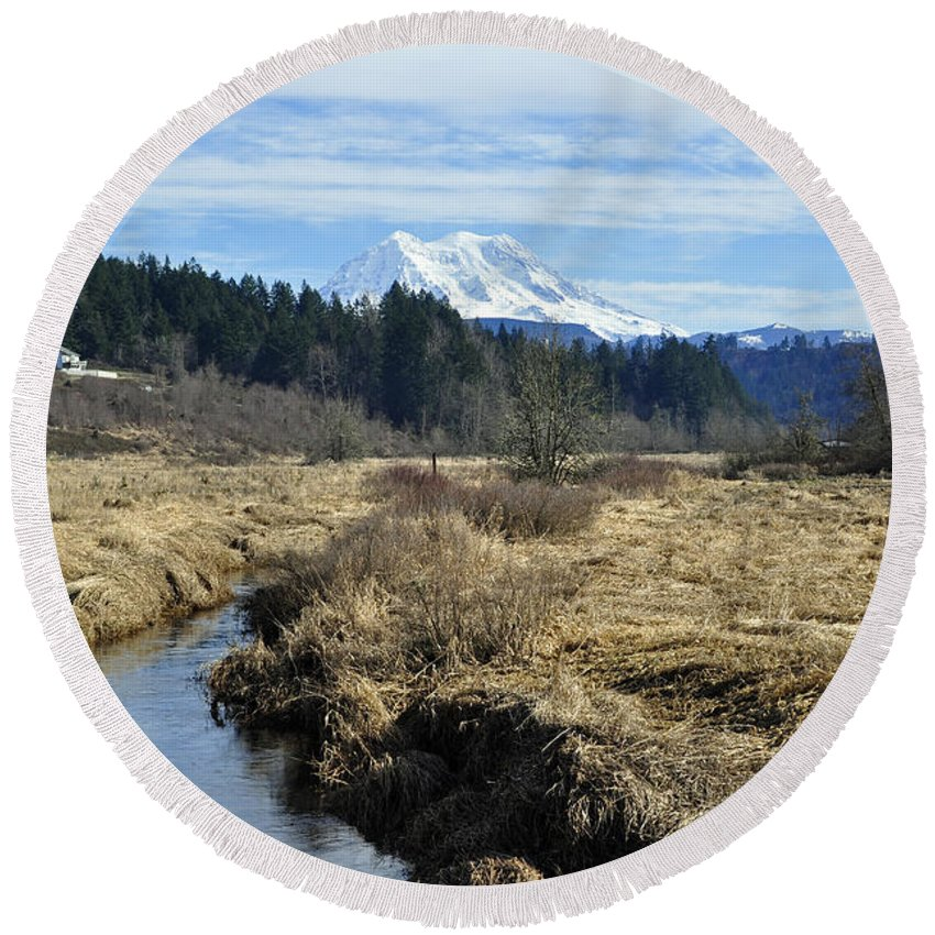 Ohop Round Beach Towel featuring the photograph Ohop Valley View Of Rainier by Tikvah's Hope
