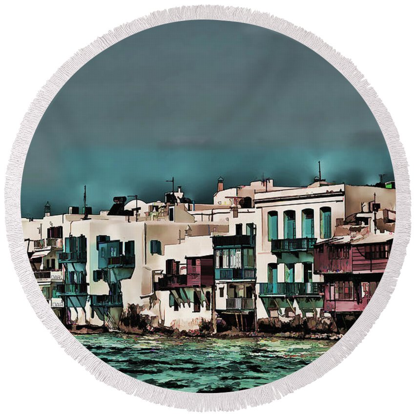 Greek Island Photo Round Beach Towel featuring the photograph Oill Paint Effect Mykonos Greece by Tom Prendergast