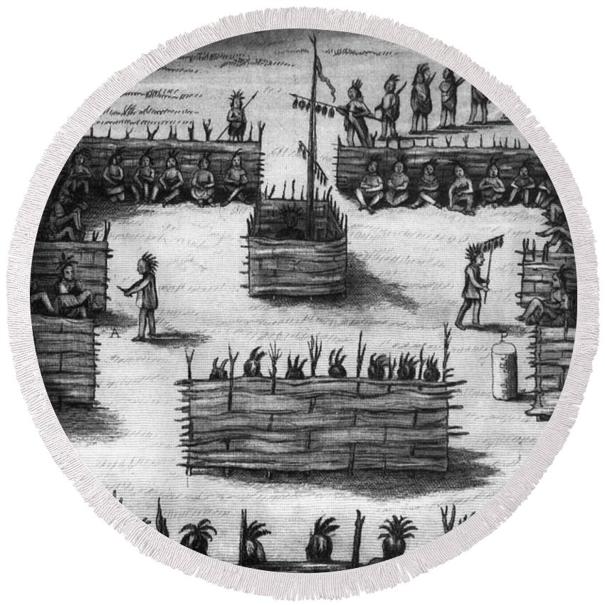 1855 Round Beach Towel featuring the photograph Ojibwa Sweat Lodge by Granger
