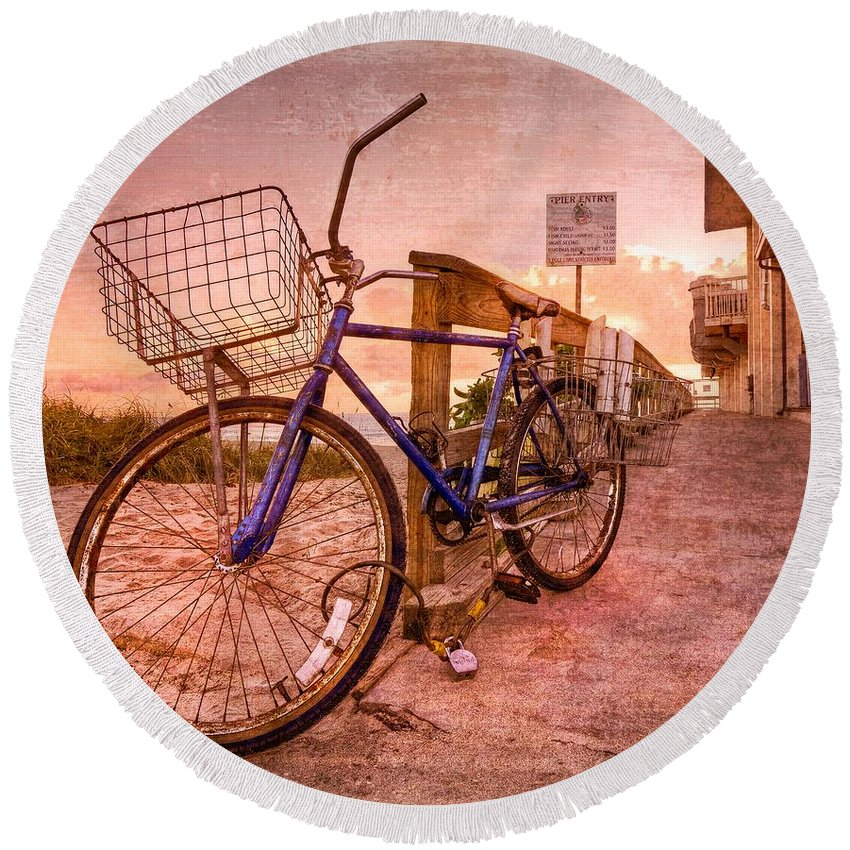 Clouds Round Beach Towel featuring the photograph Ol' Bike by Debra and Dave Vanderlaan