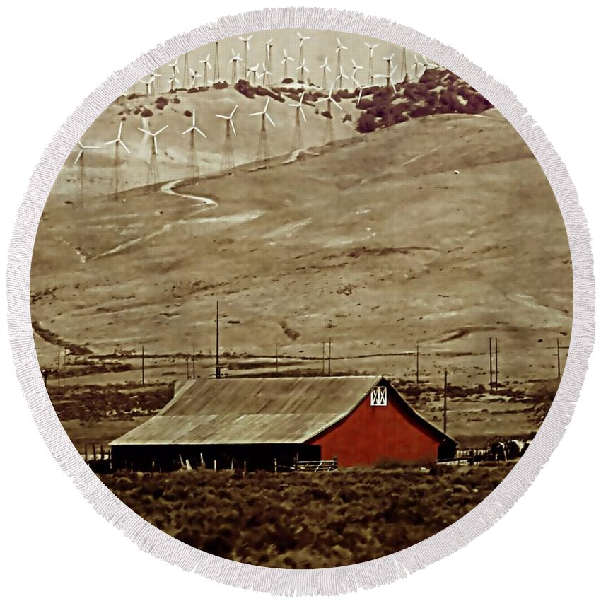 Barn Round Beach Towel featuring the photograph Old And New by Ellen Heaverlo