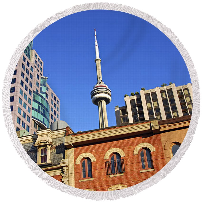 Toronto Round Beach Towel featuring the photograph Old And New Toronto by Elena Elisseeva