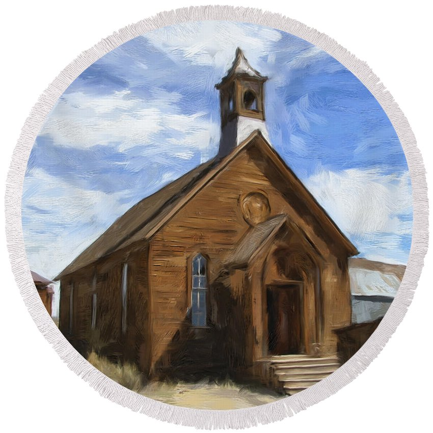 Church Round Beach Towel featuring the painting Old Church At Bodie by Dominic Piperata