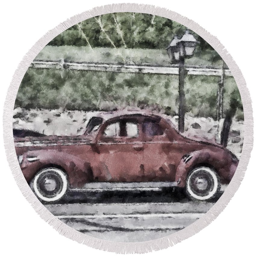Car Round Beach Towel featuring the photograph Old Faithful by Trish Tritz