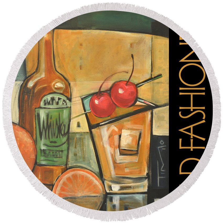 Beverage Round Beach Towel featuring the painting Old Fashioned Poster by Tim Nyberg
