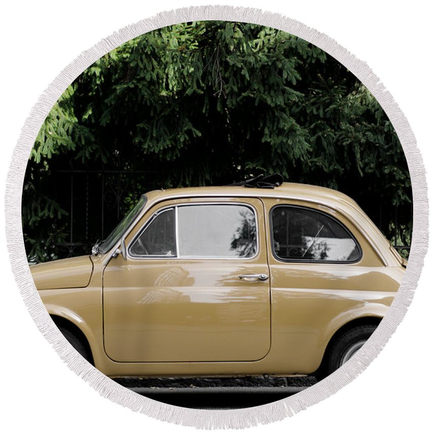 Car Round Beach Towel featuring the photograph Old Fiat by Mats Silvan