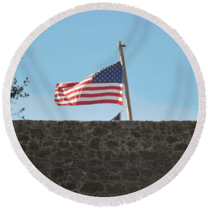 Flag Round Beach Towel featuring the photograph Old Glory by Donna Brown