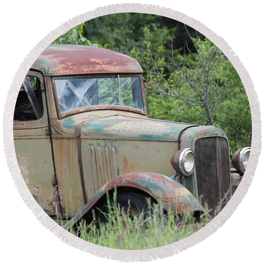 Pickup Round Beach Towel featuring the photograph Abandoned Truck In Field by Athena Mckinzie