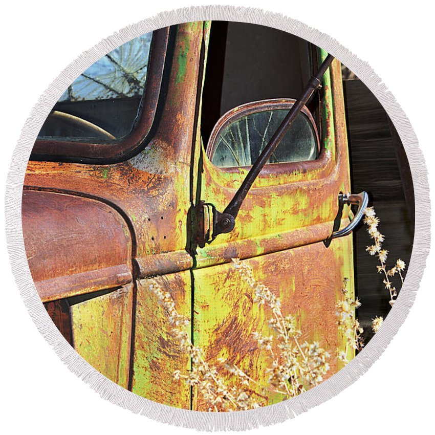 Truck Round Beach Towel featuring the photograph Old Green Truck Door by Phyllis Denton