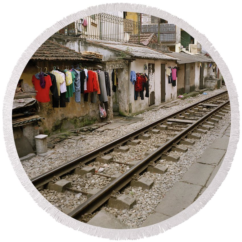 Asia Round Beach Towel featuring the photograph Old Hanoi By The Tracks by Shaun Higson