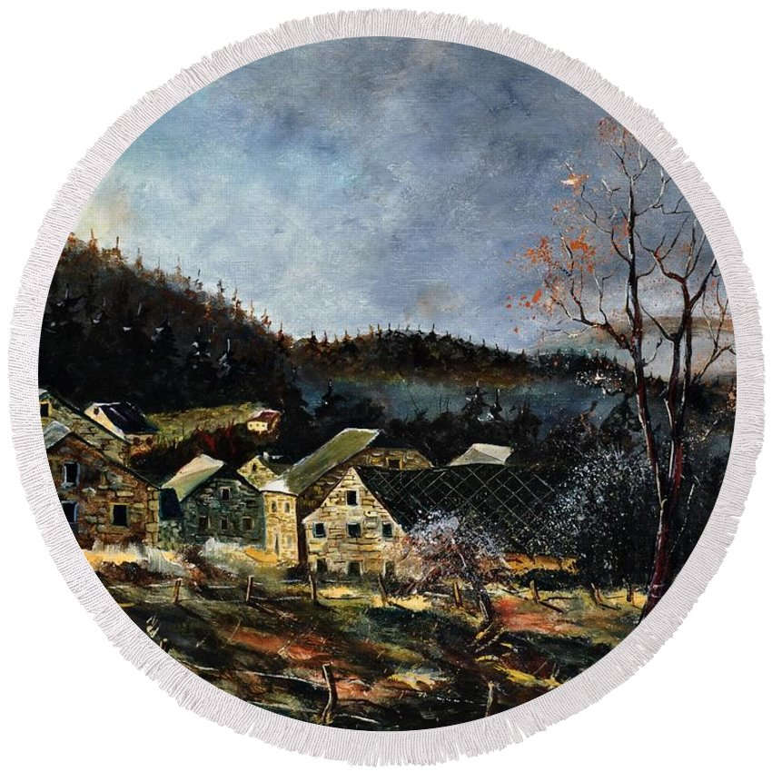 Landscape Round Beach Towel featuring the painting Old Houses In Mogimont by Pol Ledent
