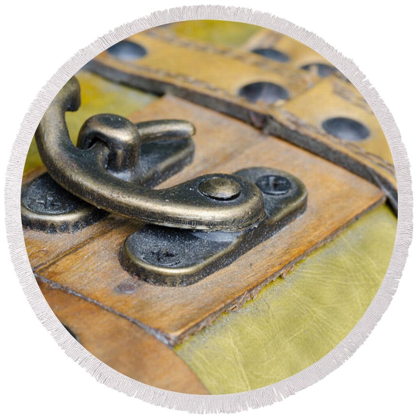 Lock Round Beach Towel featuring the photograph Old Lock by Mats Silvan