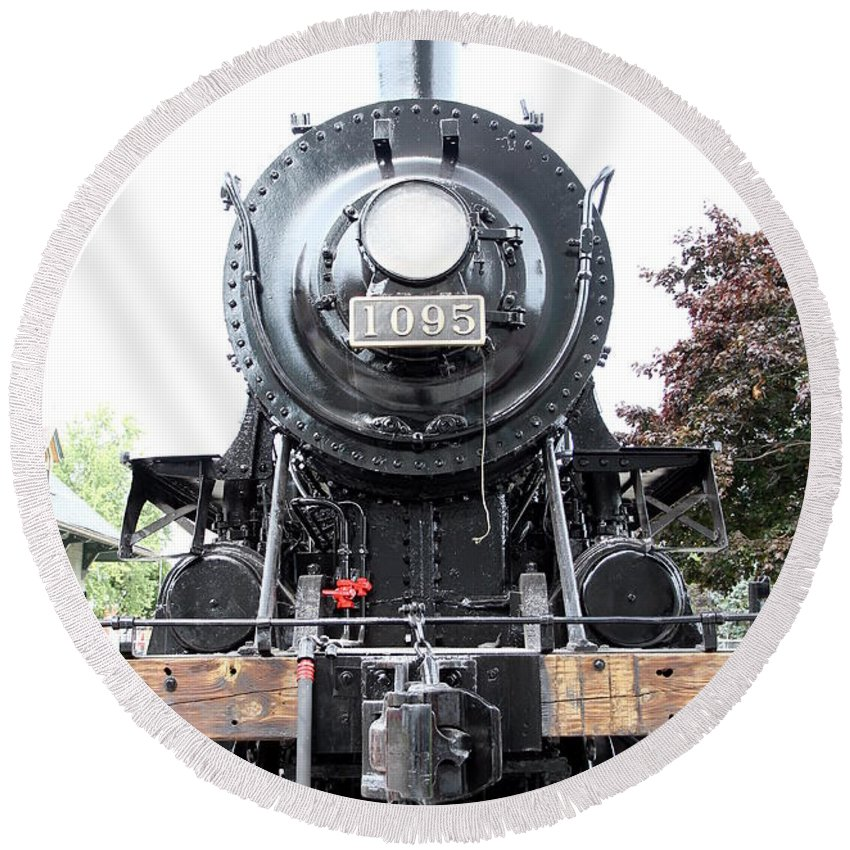 Train Round Beach Towel featuring the photograph Old Locomotive by Valentino Visentini