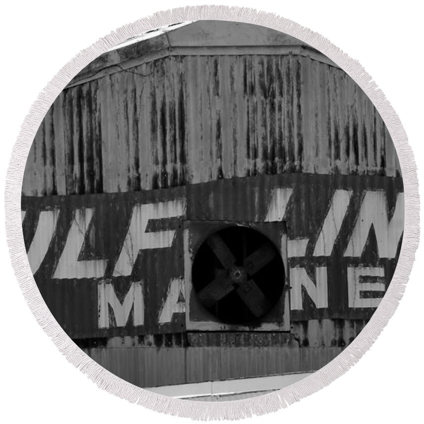 Fine Art Photography Round Beach Towel featuring the photograph Old Marine Sign by David Lee Thompson