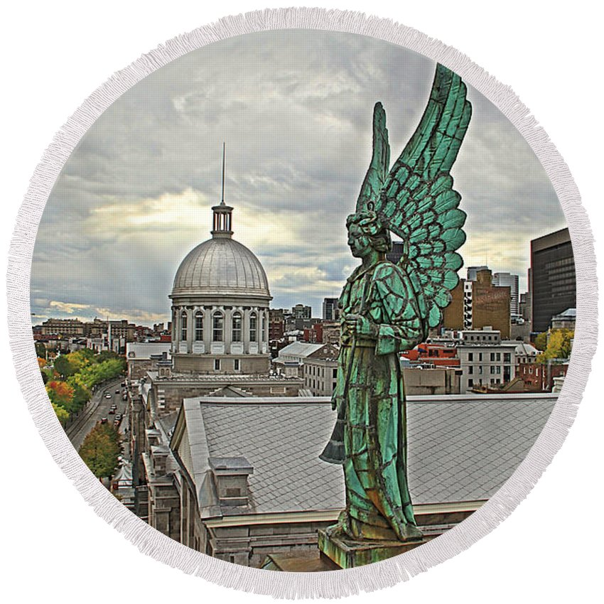 Old Montreal Canada Angel Statue Church City View Round Beach Towel featuring the photograph Old Montreal Angel by Alice Gipson