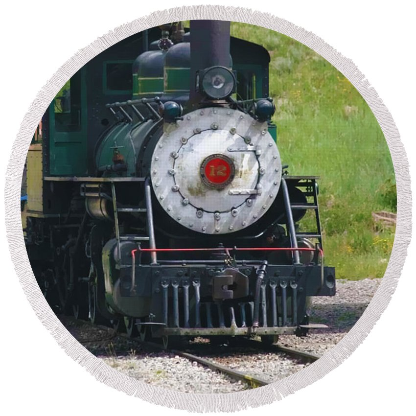 Train Round Beach Towel featuring the photograph Old Number 12 by Terry Fiala