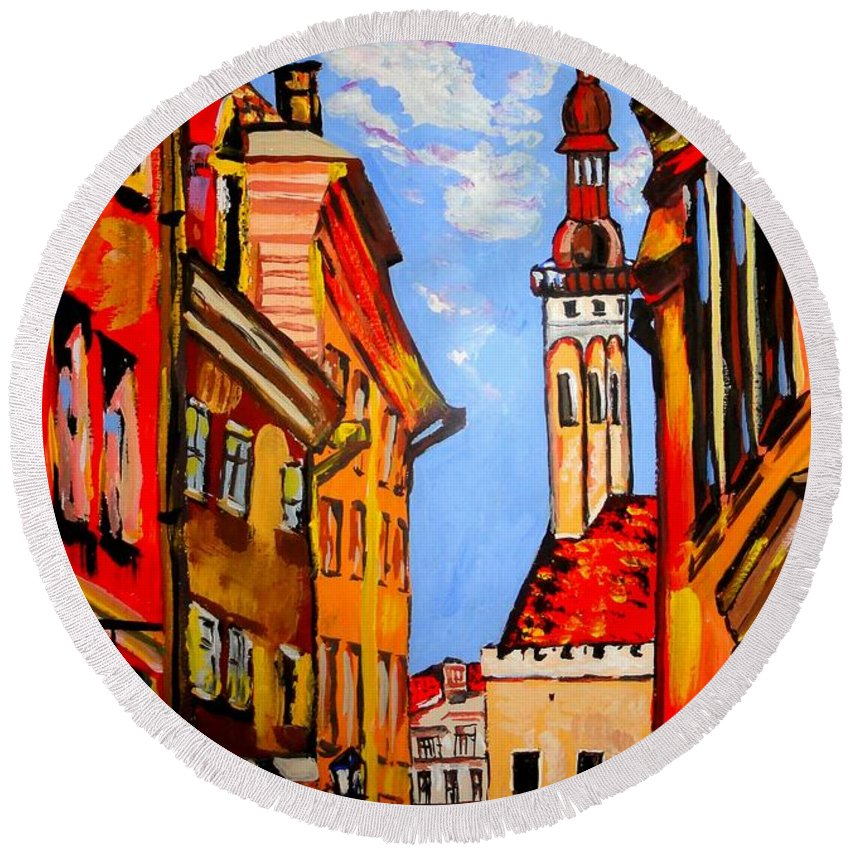 Old Town Round Beach Towel featuring the painting Old Tallinn by Tatjana Andre