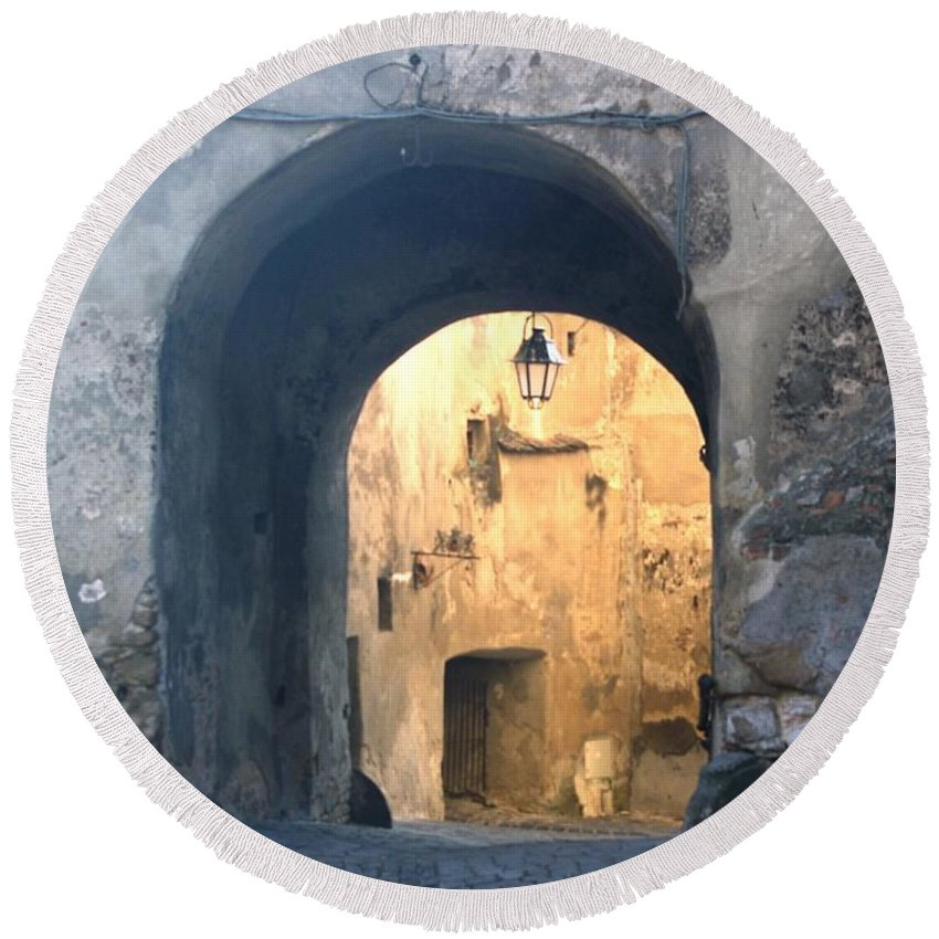 Sighisoara Round Beach Towel featuring the photograph Old town gate 1 by Amalia Suruceanu