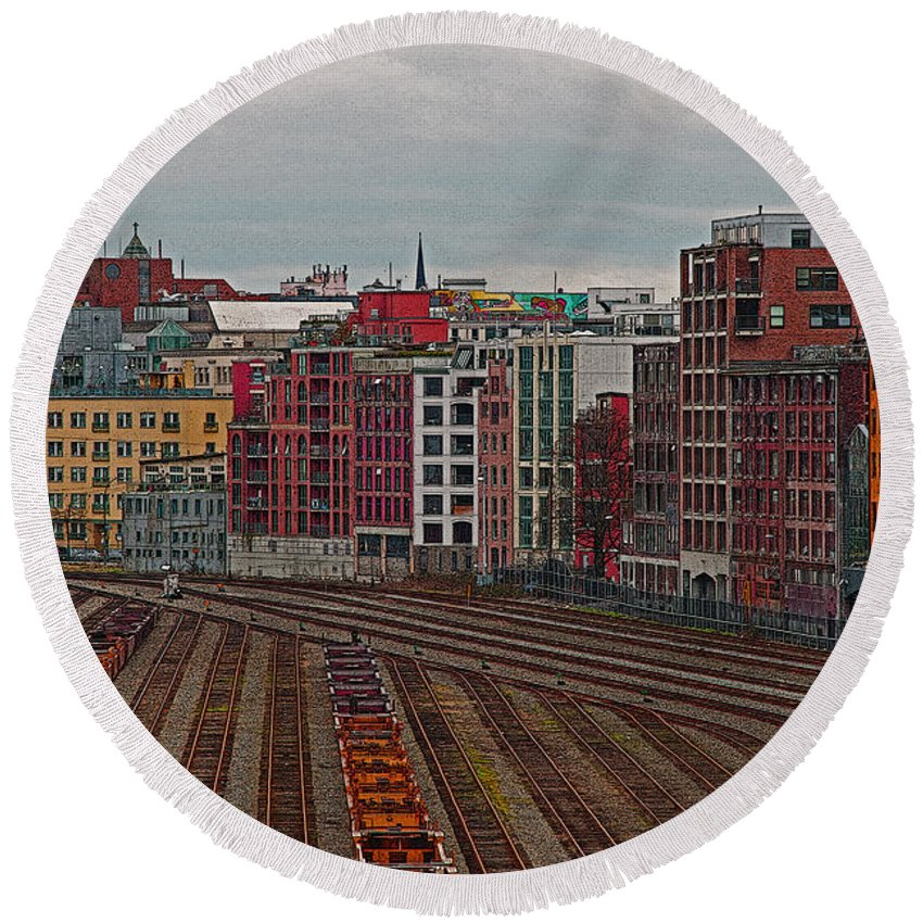 Vancouver Round Beach Towel featuring the photograph Old Town Vancouver by Randy Harris
