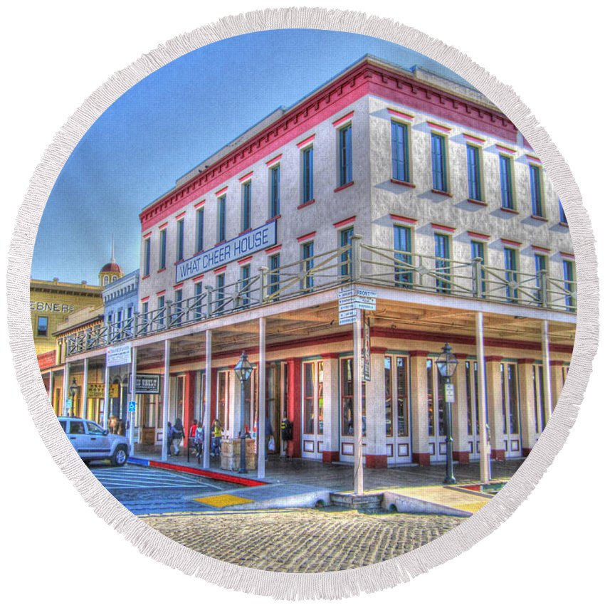 Street Corner Round Beach Towel featuring the photograph Old Towne Sacramento by Barry Jones