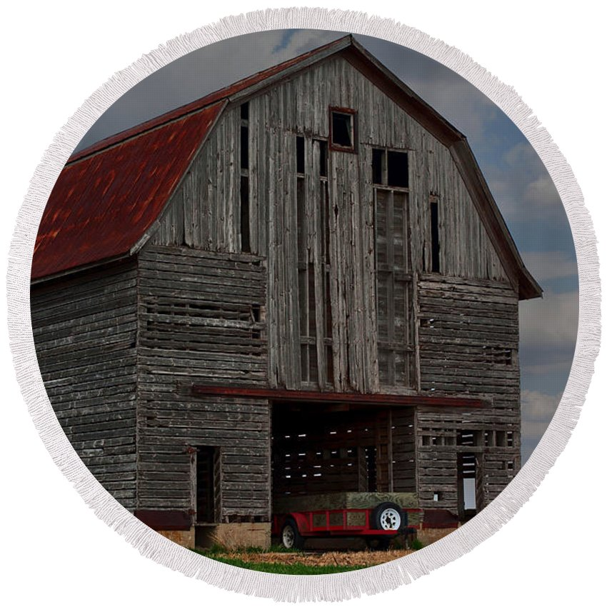 Abandoned Round Beach Towel featuring the photograph Old Wagon Older Barn by Alan Look