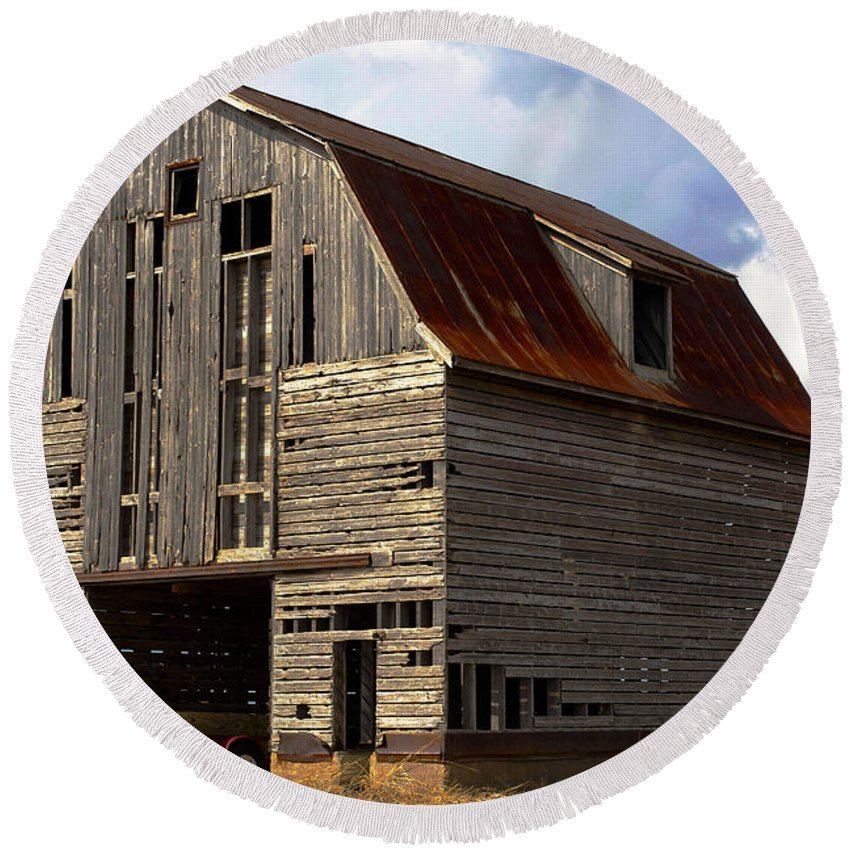 Abandoned Round Beach Towel featuring the photograph Old Wagon Older Barn Different View by Alan Look