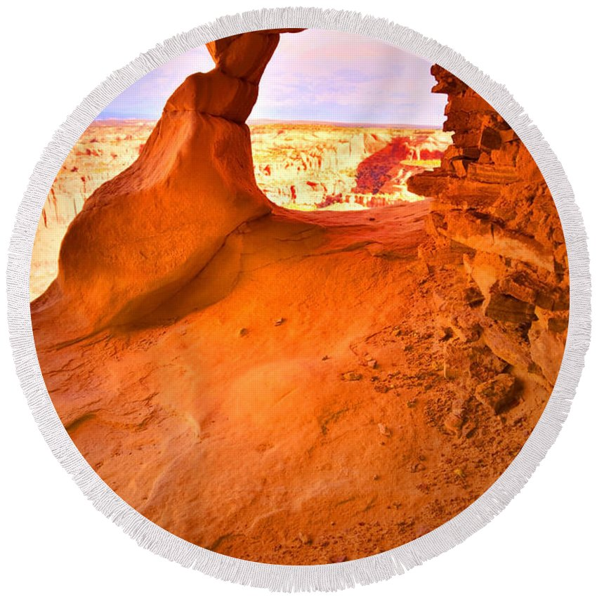 Aztec Butte Trail Round Beach Towel featuring the photograph Old Window by Tara Turner