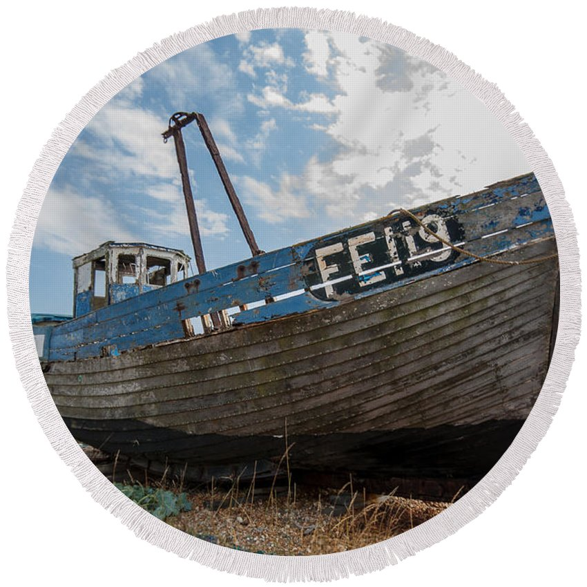 Boat Round Beach Towel featuring the photograph Old Wrecked Fishing Boat by Dawn OConnor