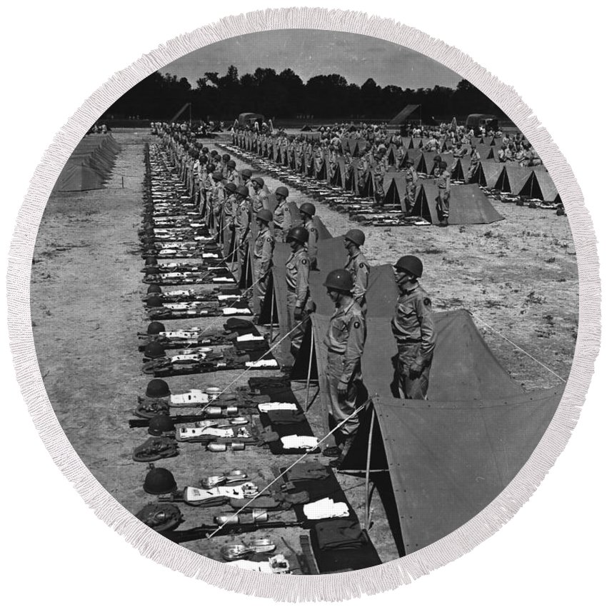 War Round Beach Towel featuring the photograph Oldiers Stand By For Inspection by Stocktrek Images
