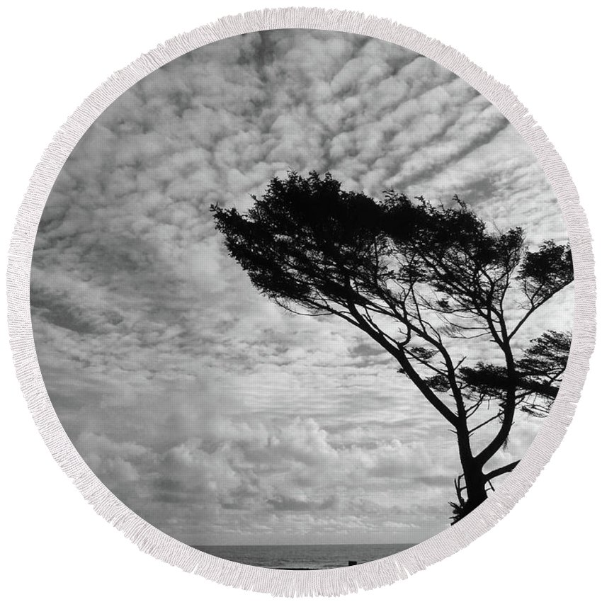 Seascape Round Beach Towel featuring the photograph Omen by Lauren Leigh Hunter Fine Art Photography