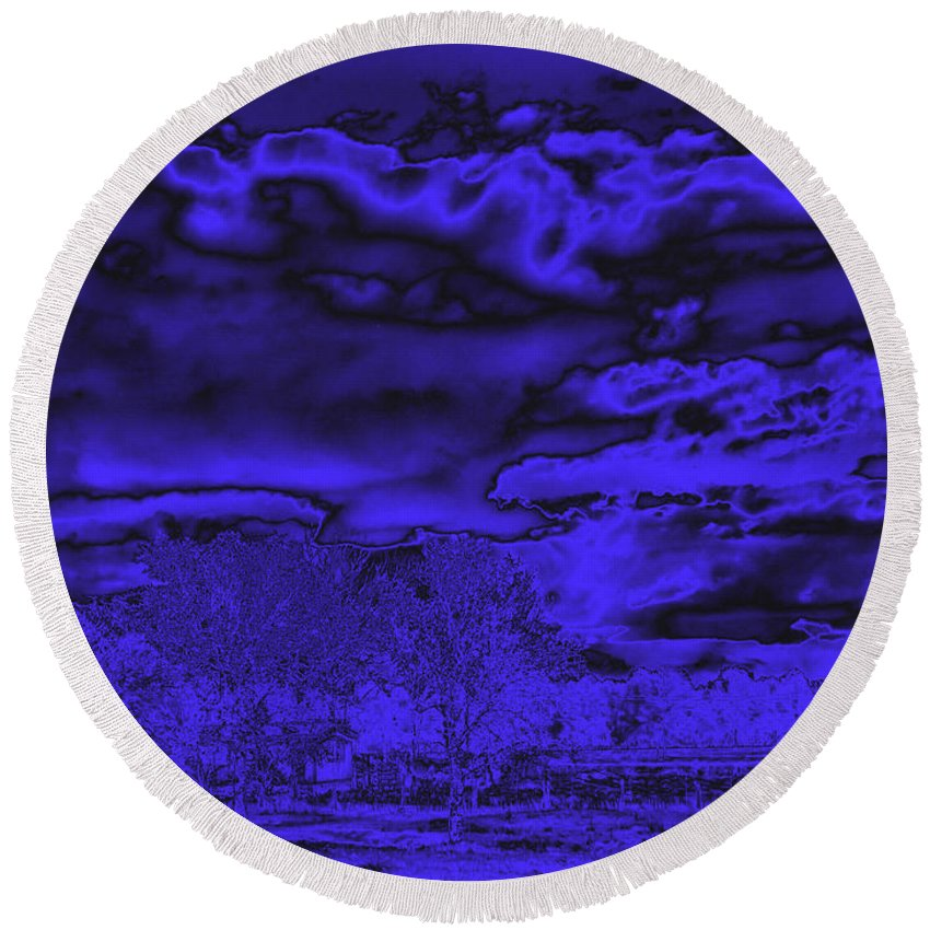 Ominous Round Beach Towel featuring the photograph Ominous by Joyce Dickens